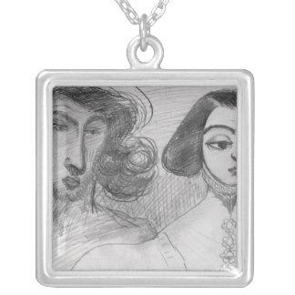 Självporträtt med den George sanden Silverpläterat Halsband