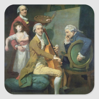 Självporträtt med hans dotter, Maria Theresa (?) Fyrkantigt Klistermärke