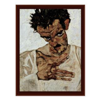 Självporträtt med hans huvud besegrar vid Schiele Vykort