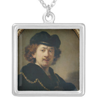 Självporträtt med hatten och guld kedjar, 1633 silverpläterat halsband