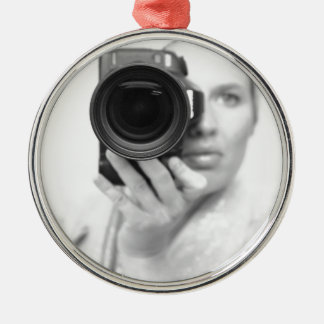 Självporträtt med kameran julgransprydnad metall