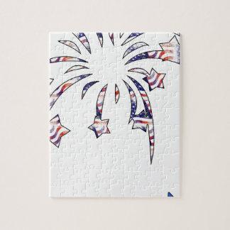 Självständighet D för flagga för fyrverkeriAmerika Pussel