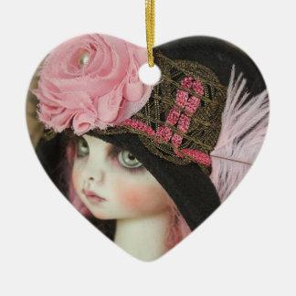 Sjaskiga rosor för Tweed Hjärtformad Julgransprydnad I Keramik