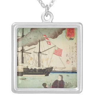 Sjö- skyttel för amerikan i en japansk hamn silverpläterat halsband