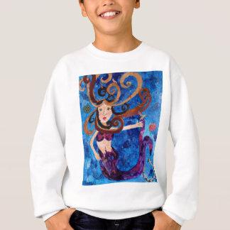 Sjöjungfru i havet med fågelkonstmålning t-shirt