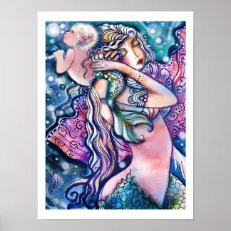 Sjöjungfru och baby, färgrik affisch