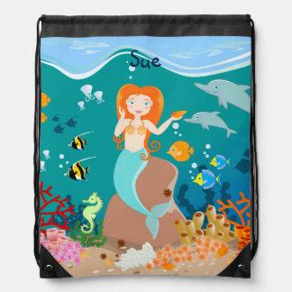Sjöjungfru och delfinfödelsedagsfest backpacks