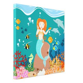 Sjöjungfru och delfinfödelsedagsfest canvastryck