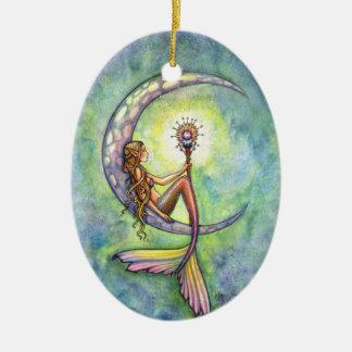 Sjöjungfru och månefantasikonsten julgransprydnad keramik