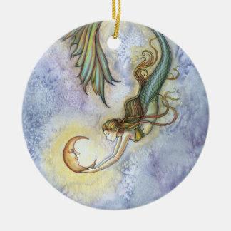 Sjöjungfru- och måneprydnad julgransprydnad keramik