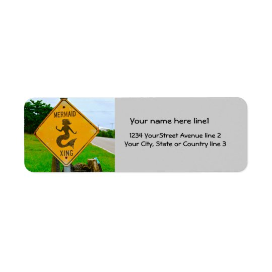 Sjöjungfrukorsning vägmärke returadress etikett