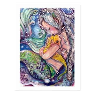 Sjöjungfrun kramar vykortet vykort