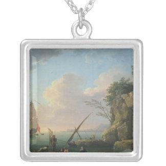 Sjölandskap 1748 silverpläterat halsband