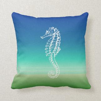 Sjölandskap för grönt för havshästblått kudder kudde