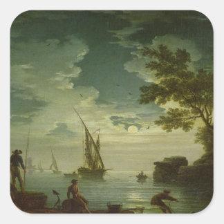 Sjölandskap månsken, 1772 fyrkantigt klistermärke