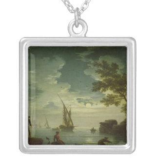 Sjölandskap månsken, 1772 silverpläterat halsband
