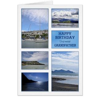Sjölandskapfödelsedagkort för farfar hälsningskort