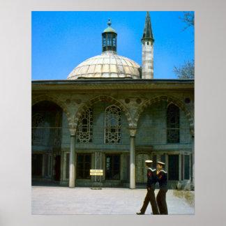 Sjömän för vintage Istanbul, moské- och turk Poster