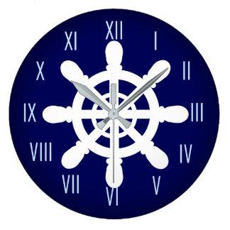 Sjömannen Wheel tar tid på blått Stor Klocka