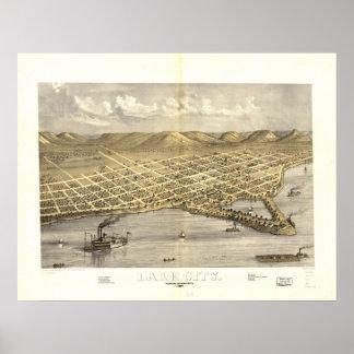 Sjöstad Minnesota 1867 antika panorama- karta Poster