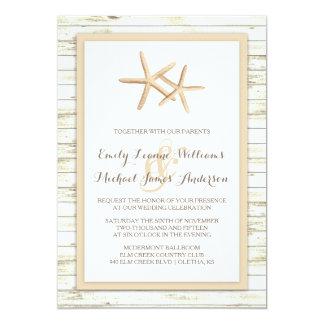 Sjöstjärna kalka Wood strandbröllopinbjudan 12,7 X 17,8 Cm Inbjudningskort