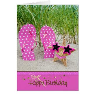 sjöstjärna med flinflip flops för födelsedag hälsningskort