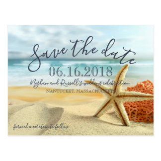 Sjöstjärna på strandbröllop spara datumvykort vykort