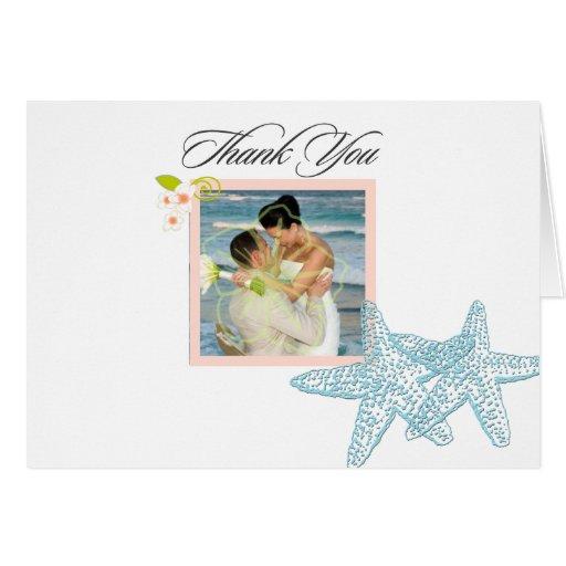 Sjöstjärna som gifta sig fototackkort hälsningskort