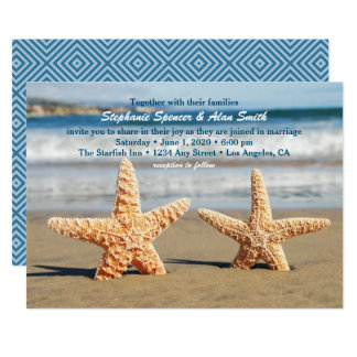 Sjöstjärnan kopplar ihop strandbröllopinbjudan 12,7 x 17,8 cm inbjudningskort