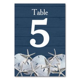 SjöstjärnaSanddollar som gifta sig bordsnummerkort Bordsnummer