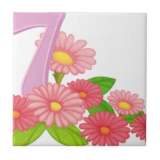 Sju blomma blommor liten kakelplatta