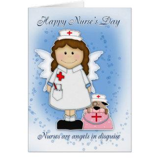 Sjuksköterska dagkort - förklädd änglar hälsningskort