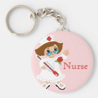 Sjuksköterska Keychain Rund Nyckelring