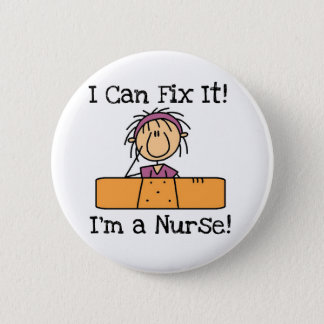Sjuksköterskan kan jag fixa det T-tröja och gåvor Standard Knapp Rund 5.7 Cm