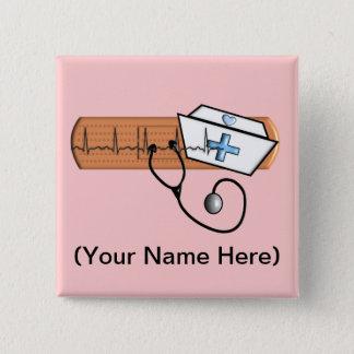 Sjuksköterskanamnemblem (tillfoga din Nam), Standard Kanpp Fyrkantig 5.1 Cm
