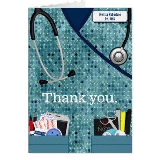 Sjuksköterskatackkort i mönstrade blått OBS kort