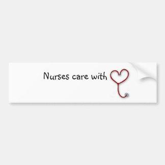 Sjuksköterskor att bry sig med hjärta - bildekal