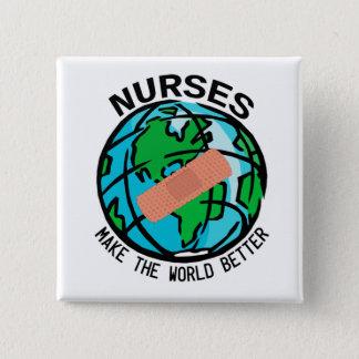 Sjuksköterskor gör världen det bättre jordklotet standard kanpp fyrkantig 5.1 cm