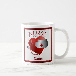 Sjuksköterskor har för sjuksköterskanamn för vit mugg