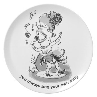 sjunga din sångtecknadstil den kvinnliga sångaren tallrik