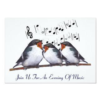 Sjunga svalor: Fåglar: Musikhändelseinbjudan 12,7 X 17,8 Cm Inbjudningskort