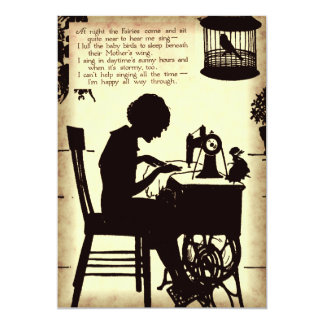 Sjungande dikt för fe för sömnaddamvintage 12,7 x 17,8 cm inbjudningskort