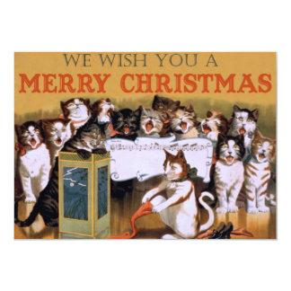 Sjungande katter för vintage julhälsning 12,7 x 17,8 cm inbjudningskort
