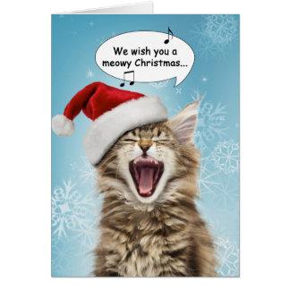 Sjungande kattjulkort hälsningskort