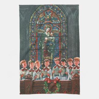 Sjungande kör för vintagejulbarn i kyrka kökshandduk
