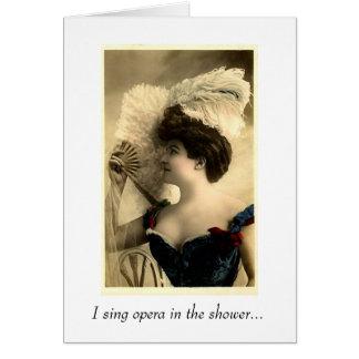 Sjungande opera i duschen hälsningskort