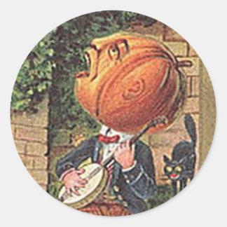 Sjungande pumpaman för vintage runt klistermärke