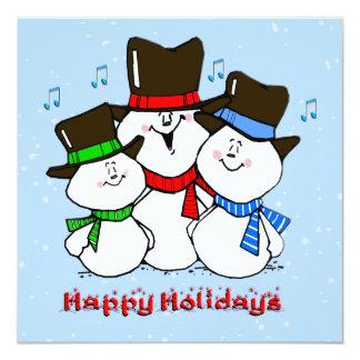 Sjungande snögubbear julinbjudan fyrkantigt 13,3 cm inbjudningskort