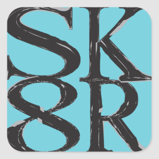 SK8R-klistermärkeblått Fyrkantigt Klistermärke