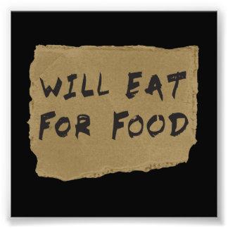 Ska äta för matpapp undertecknar fototryck